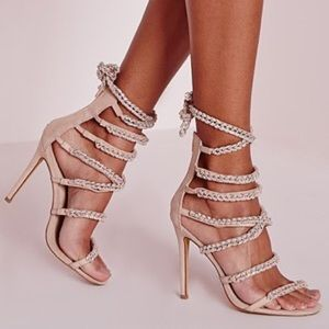 "Miss Guided ""Peace & Love Chain Strap"" Nude Heels"